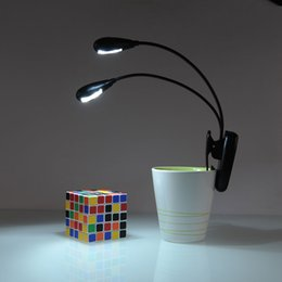 Wholesale Black Clip on Dual Arms LED Flexible Reading lamp Book Light for Music Stand ebook Night light Clip On Super bright LED camping lamp