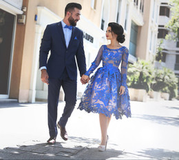 Royal Blue Bridesmaid Dresses Long Sleeves Lace Short Formal Party Dresses With Crew Neck Zip Back Knee Kength