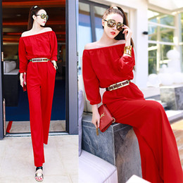 Jumpsuits for Women 2015 Spring New Fashion Brand Design Off the Shoulder Slash Collar Wide Leg Slim Rompers Red Womens Clothing 4020