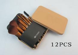 Conjunto de maquillaje cepillo de bajo precio en venta-Los NUEVOS NUDOS CALIENTES del precio bajo 12 PC / set cepillos del maquillaje con la caja del hierro