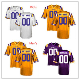 Wholesale Factory Outlet Custom LSU Tigers College Football Jersey Personalized Gold White Purple Double Stitched Top Quality Jerseys Any Name Numb