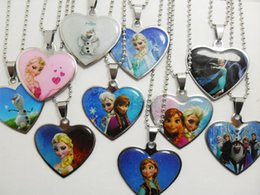 Wholesale 20pcs Frozen Ana Elsa Stainless Steel Pendant Necklaces Children Birthday Party Gift Fashion Jewelry
