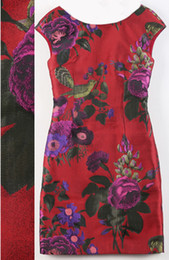 Fashion Flower Print Women Sheath Dress Sleeveless Dresses 011531