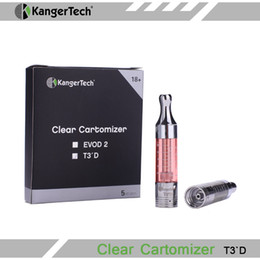 Wholesale 100 Original Kanger T3D Clearomzier Kangertech T3D eGo Atomizer With Replaceable Bottom Dual Coil ml Capacity Huge Vapor for E Cigarette