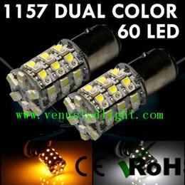 2017 las luces de carga Auto led light super bright 60-SMD 1157 1156 Dual-Color Switchback LED Bombillas (60-White 60-Amber) + Resistor de carga las luces de carga outlet