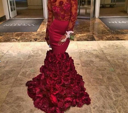 2017 Burgundy Black Girl Evening Dress With Rose Floral Ruffles Sheer Mermaid Prom Gown With Applique Long Sleeve Evening Dresses With Bra