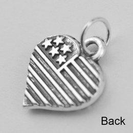 50pcs American flag heart charm with jump ring