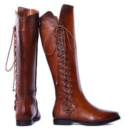 Wholesale New British Warm Knee High Women Boots New Women s Flat Heel Fashion Leather High Calf Riding Boots Retro Snow Boots