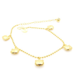 Long Cartoon Anklet Bracelet Chain Solid 18k Yellow Gold Filled Womens Lovely Statement Jewelry Extend Chain