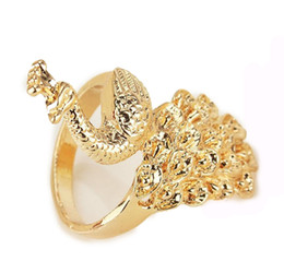 Fashion Jewelry 14k Yellow Gold Plated Free Shipping Beautiful Peacock The Rings Jewelry For Women Birthday Gifts US Size 8.2