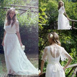 Spring Sheer Lace Wedding Dresses 2016 Jewel A line Sweep Train Garden Half Sleeve Bridal Gowns Custom made