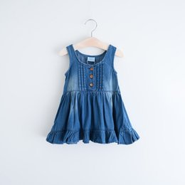 Wholesale 2016 Baby Girls Fashion Jean Denim Dresses Kids Girls Autumn Wash Blue Dress Girl Ruffle Vest Dress Babies Clothing