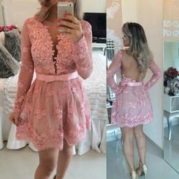 Long Sleeve Party Dresses V Neck vestidos De Festa Beading Back Open back Pink Short Cocktail Dress capped Sleeve Sheer lace Prom Gowns