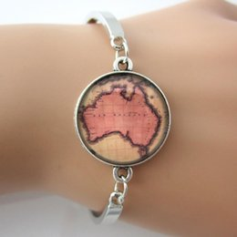Wholesale New Australia Bracelet Vintage Map Bangle Map Jewelry Glass Art Picture Silver Plated Men Bracelet For GIFT