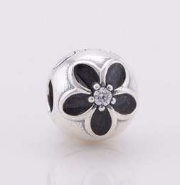 ENAMEL FLOWER CLIP DIY Beads Fits Original Pandora Bracelets & Bangles & Necklaces Real Solid 925 Sterling Silver Not Plated