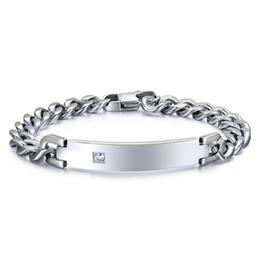 Popular Hotsale High Quality Beautiful Elegant Design Men Women Silver Stainless Steel Link Chain Shining Crystal Smooth ID Bracelet