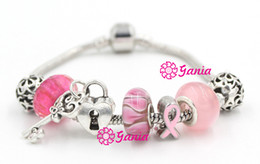 Wholesale New Arrival Newest Breast Cancer Awareness Jewelry European Bead Charm Lampwork Murano Grass Bead Pink Ribbon Breast Cancer Bracelet Jewelry