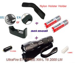 Wholesale 1 Set UltraFire E17 Touch Cree XM L T6 Lumen XML LED Light Zoomable Life Waterproof Flashlight torch case battery charger
