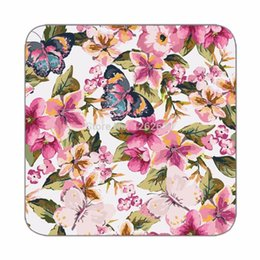 Wholesale Beautiful Butterfly with tropical floral Pattern Print Custom Mat Drink Tea Cup Cork Coasters Pack of