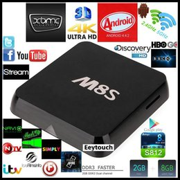 Amlogic android à vendre-2017 le moins cher Quad M8S Amlogic S812 Quad Core 4K Smart TV Box Android 4.4 2 Go 8 Go kodi16.0 2.4G 5G WIFI Media Player H.265 Bluetooth