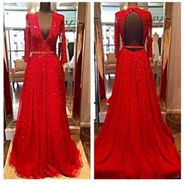 Red Long Sleeves Fitted Evening Dresses 2015 Beads Sequins V-Neck Open Backless Crystal Prom Party Gowns Ruffles Court Train Best Selling