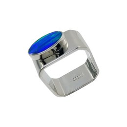 Wholesale Oval Shape Luxury Solitaire Ring Pure Handmade Silver Jewellery Japan Unajustable Opal Silver Ring Colors R377