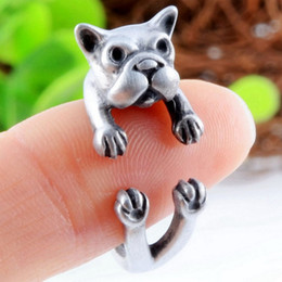 Wholesale Hot Antique Silver Plated Cute Dog Animal Design Adjustable Size Ring French Bulldog Animal Rings Fine Jewelry For Women
