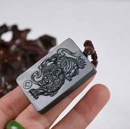 Natural dark green jade pendant hand-carved charm good luck Pi Yao pendant necklace