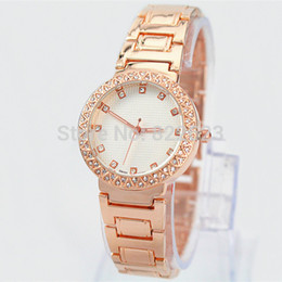 Wholesale 2015 New Style Women Wristwatch with Diamond Gold Rose gold silver brand lady watch Female Table
