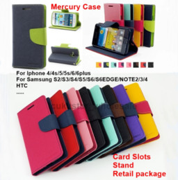 Wholesale Free DHL Mercury Wallet PU Flip Leather Case Card Slot For Samsung Galaxy A7 S3 S4 S5 S6 Edge Mini Note iPhone Plus HTC LG SONY
