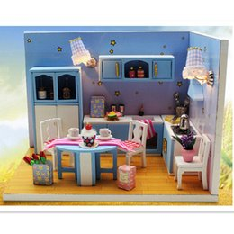 Wholesale DIY Wooden Doll House with Furniture Assembling Toys for Kid quot The Love of Kitchen quot Dollhouse Miniature Toys