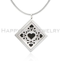 Playing card design Essential Oil Diffuser Perfume Locket Pendant Necklace 30mm Aromatherapy Stainless Steel square shape locket