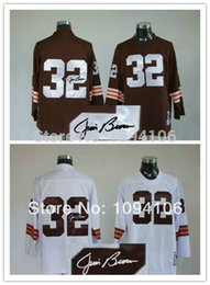 Wholesale Factory Outlet Jim Signed White Throwback Authentic Old Style Brand Football Jerseys Embroidery logos Cheap Jersey