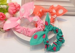Wholesale 10pcs Cute bunny Baby girl flower hair clip headbands ears dot chiffon headwear wild elastic hair band hair rope ornaments