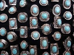 Turquoise Stone Rings 10pcs Women's Rings Gemstone Platinum P Ring Gemstone Rings