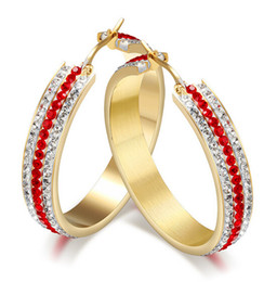 Hotsale The anniversary gift New Design Stainless Steel Gold Round Hoop Earring Full Red &White Crystal Stone Luxurious jewelry