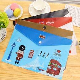 Wholesale 12 PVC london A4 Floder for docouments holder file folder for Paper buckles embossing folder Envelope bag office supplies