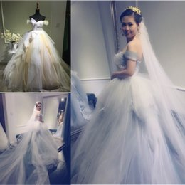 Hot Real Wedding Dresses 2016 Spring Off Shoulder Pleats Ruffles Lace Tiered Wedding Bridal Gowns Custom made