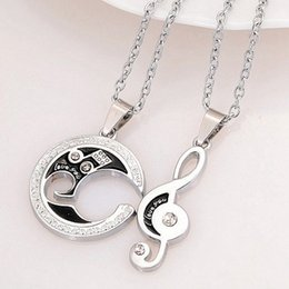 Couple Lovers Pendant Necklaces For Women and Men Moon Music Symbol Stainless Necklace Leaves of love Gift