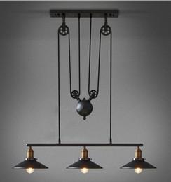 Stocks In US Loft Vintage Retro Wrought Iron Black Chandelier Adjustable Pulley Industrial Lamp Light Mirror Fixtures