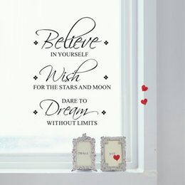 Wholesale Believe in yourself Wish Dream Quote Art Vinyl Wall Sticker Mural Decals Home Removable Transfer Hot