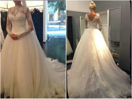 Hot Long Sleeve Wedding Dresses 2016 Illusion Beaded Lace Appliques Bridal Gowns Custom made Plus size Dress High Quality