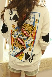 Wholesale 2014 New Fashion Tops Harajuku Funny Yong Women Zipper Ayumi Poker Queen Vintage T shirt Plus Size Pullover