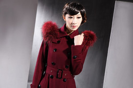 Wholesale-New Sophiscated Burdugy Double Breasted extralong Cameral Fur Collared Wool Trech Coat outerwear tall women elegant celebrity