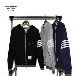 Wholesale-New Arrival Thom brown Sports Casual Sweatshirt riri Lettering Zipper Cardigan,Blue And Black Gray Hoodies &