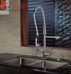 Wholesale High Quality pull out down kitchen sink faucet solid brass kitchen vessel sink swivel faucet High Pressure