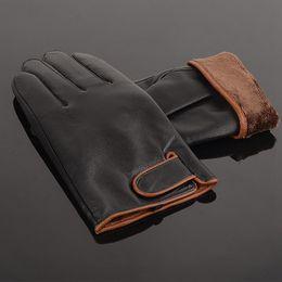 Wholesale-Business Sheepskin Leather Man Warm Winter Velvet Protective Leather Gloves