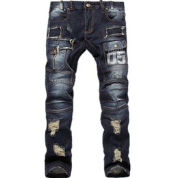 2015 New Mens Ripped Jeans 100% Cotton Brand Designer Denim Joggers For Men Distressed Jeans Pants With Holes Size 30-38 Outdoor jeans