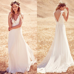 2016 Summer Wedding dresses V neck Baackless Fashion Lace Beaded A line Chapel Chiffon Beach Garden Bridal Dress Custom made