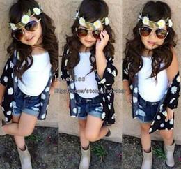 Wholesale Child Suit Kids Sets Children Clothes Kids Clothing Girl Dress Flower Coat White Tank Tops Denim Jeans Children Set Kids Suit Outfits L43966